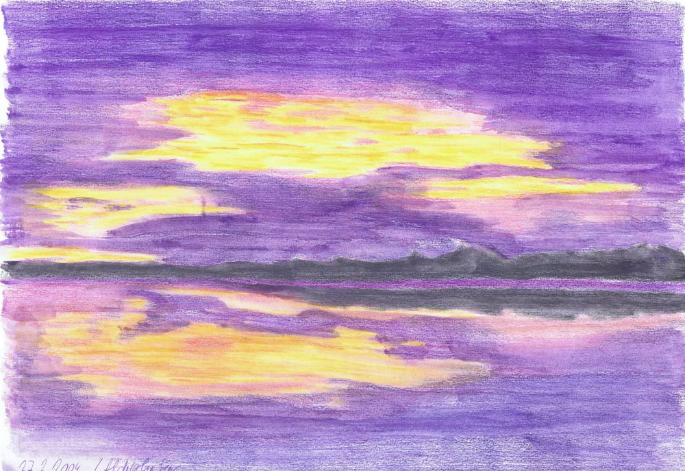 Sunset On The Sea-drawing by Claudia Luethi Alias Abdelghafar