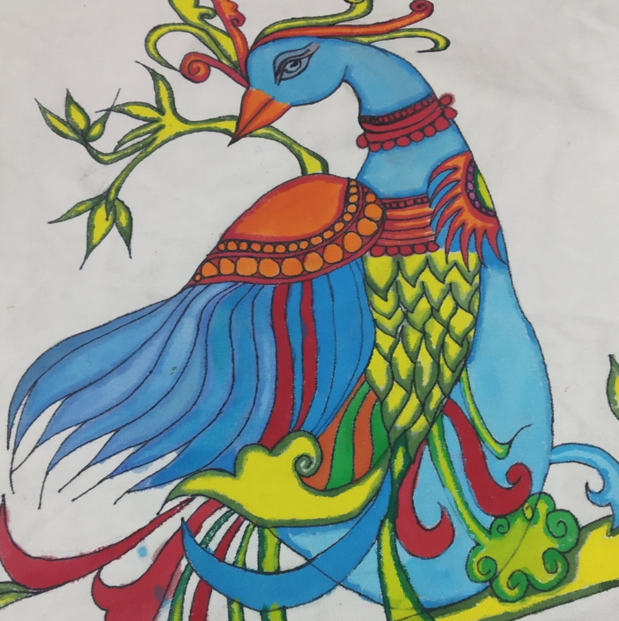 Peacock Fabric Art-embroidery Showflipper