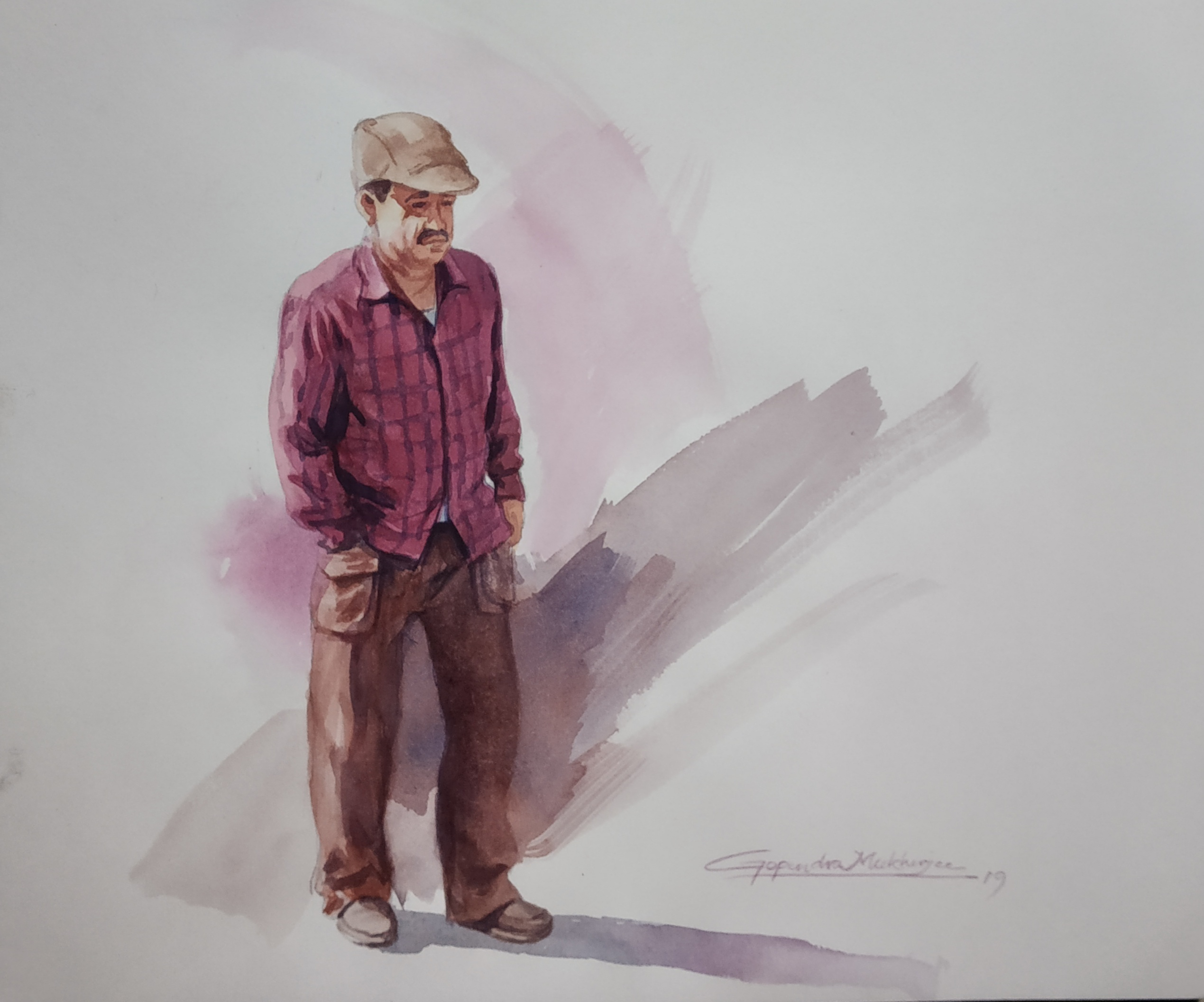 Watercolor Painting of Man Showflipper