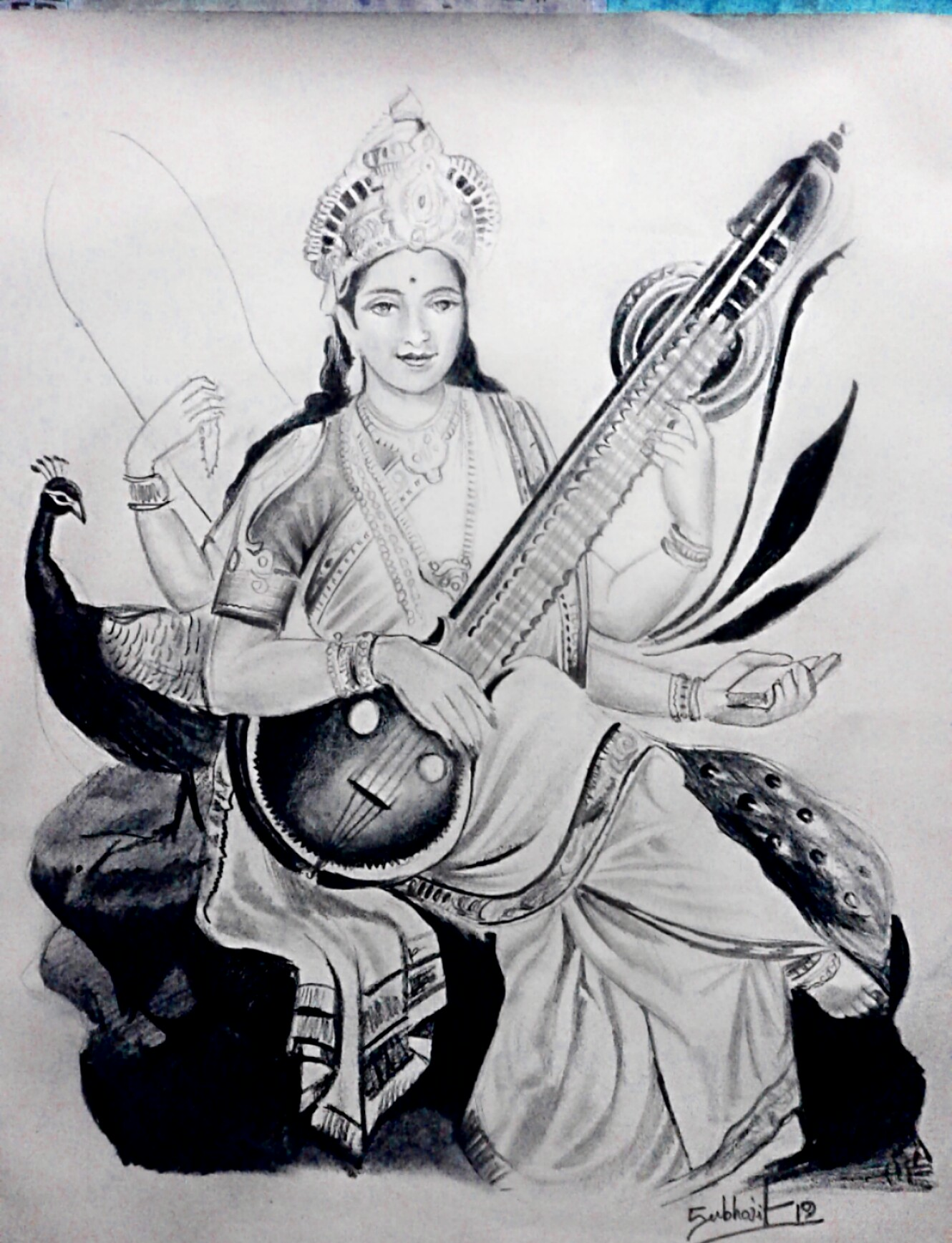 Saraswati Ma Drawing -drawing Showflipper