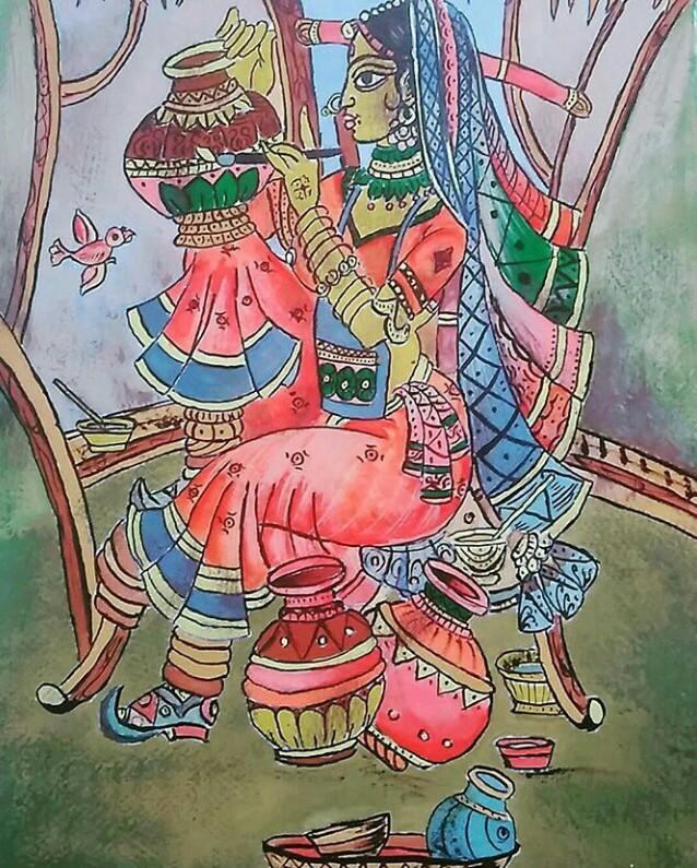 Madhubani Style Painting-paintings Showflipper