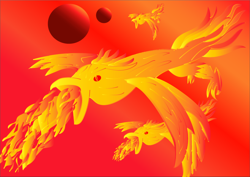 Fire Birds Phoenix Red Sky Moons-3d art and painting Showflipper