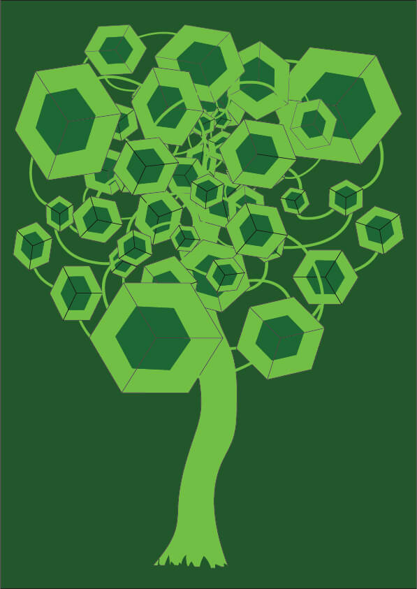 Green Cubes Tree Abstract Digital Art-illustration Showflipper
