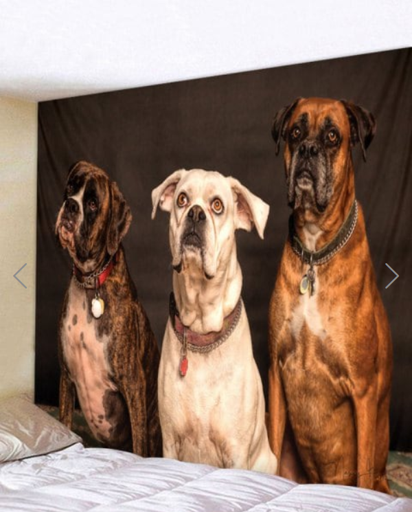Fabric Wall Tapestry Throw Boxer Dogs -quilting Showflipper