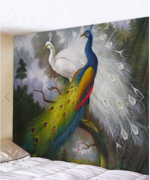 Fabric Wall Tapestry Throw Pretty Peacocks -quilting Showflipper