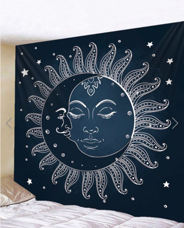 Fabric Wall Tapestry Throw Sun And Moon Mandala -quilting Showflipper