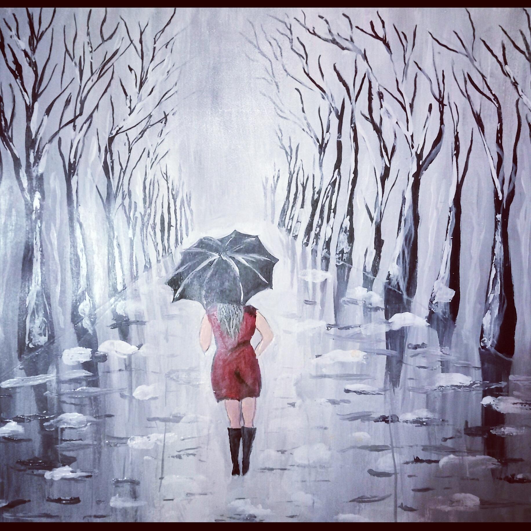 Girl In The Dark Night-paintings Showflipper