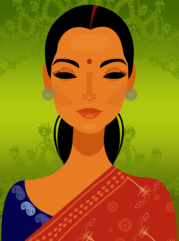 Indian Lady Illustration-illustration Showflipper