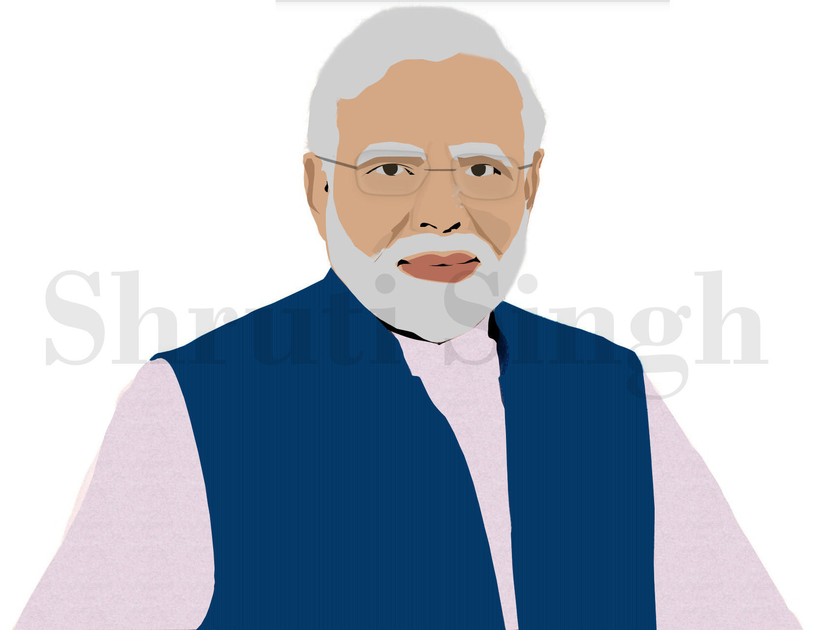 Shri Narendra Modi Digital Portrait-digital sketches Showflipper