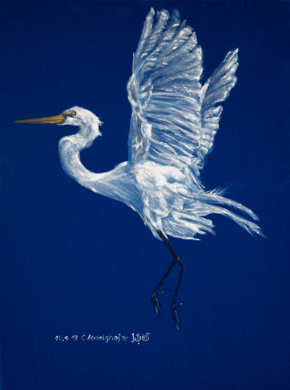White Heron On Blue Velvet-paintings Showflipper