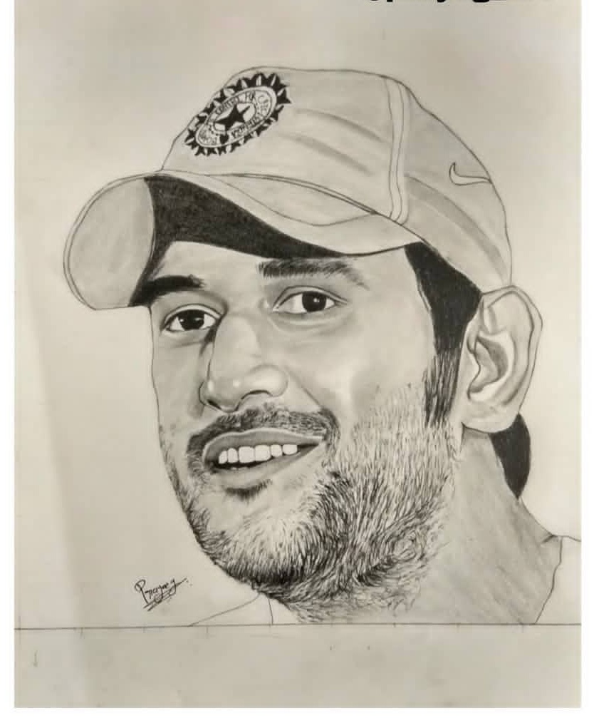 MS  Dhoni-drawing Showflipper by Prayag Lathiya