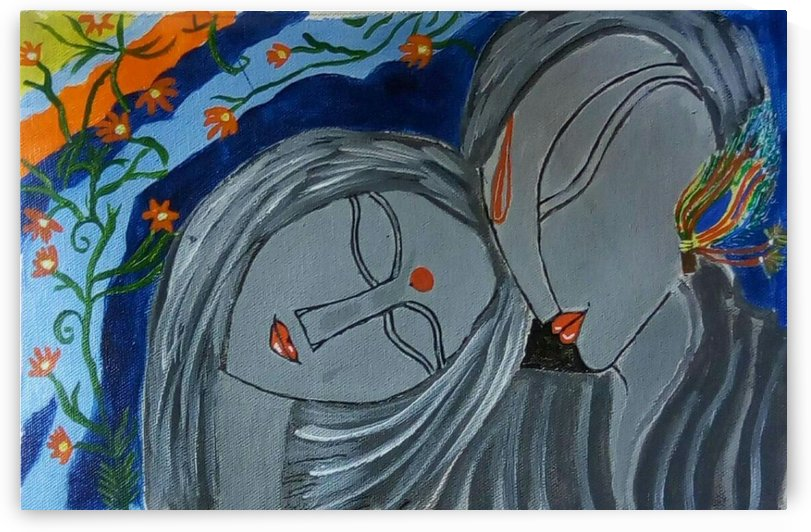 The Folk Radha Krishna Painting-paintings Showflipper