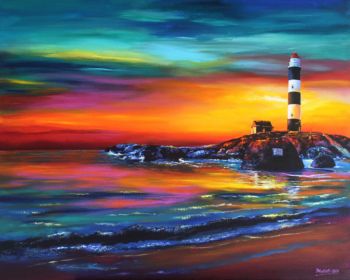Kaup Beach Sunset-paintings Showflipper