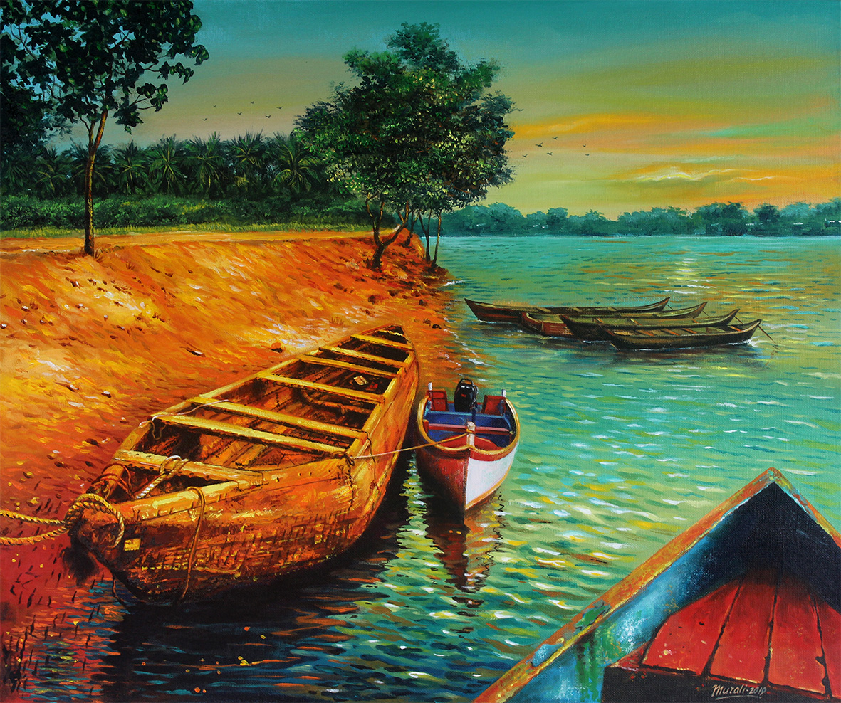 An Evening At Phalguni River Bank-paintings Showflipper