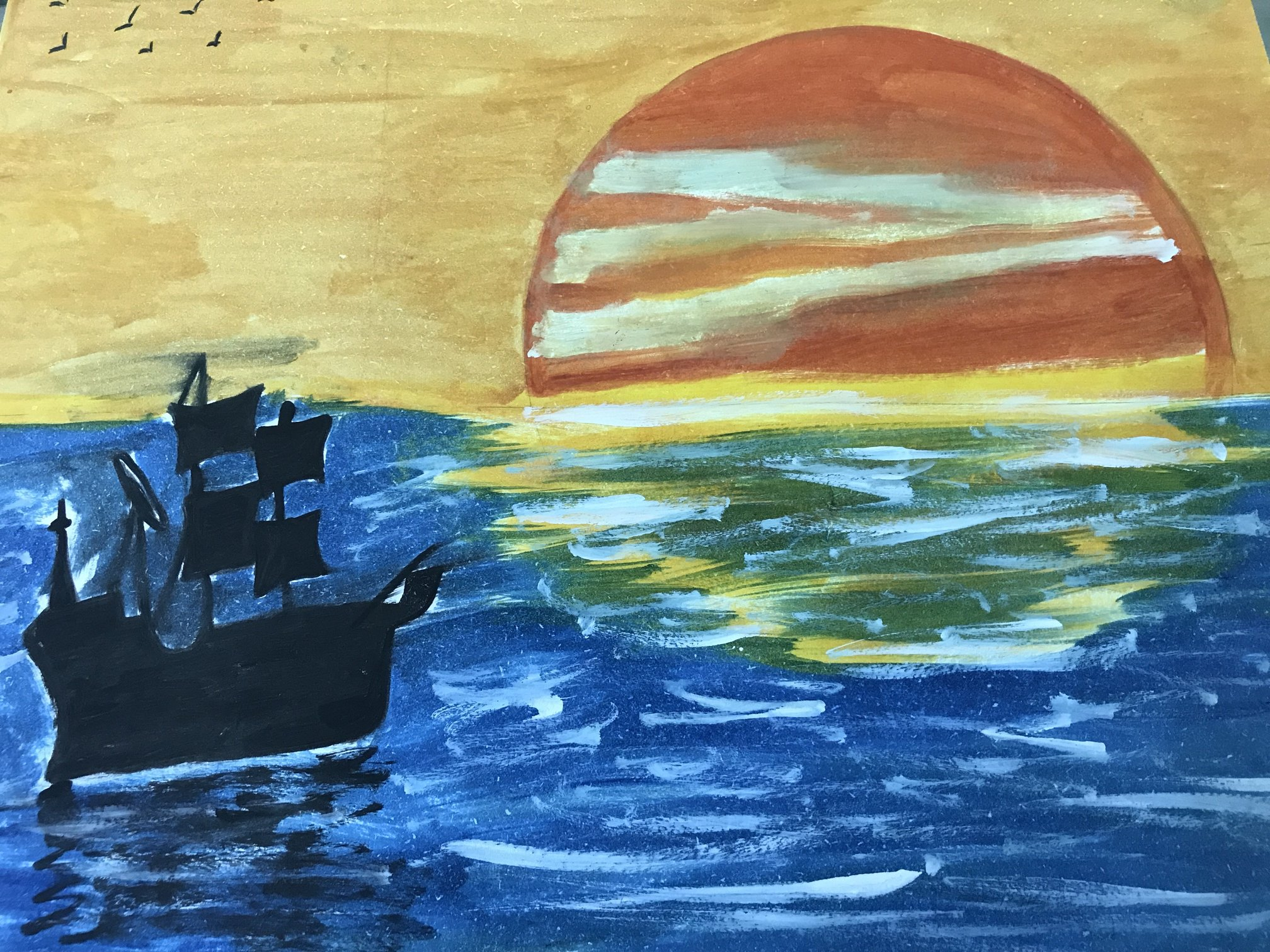 Sea Sunset Painting-paintings Showflipper