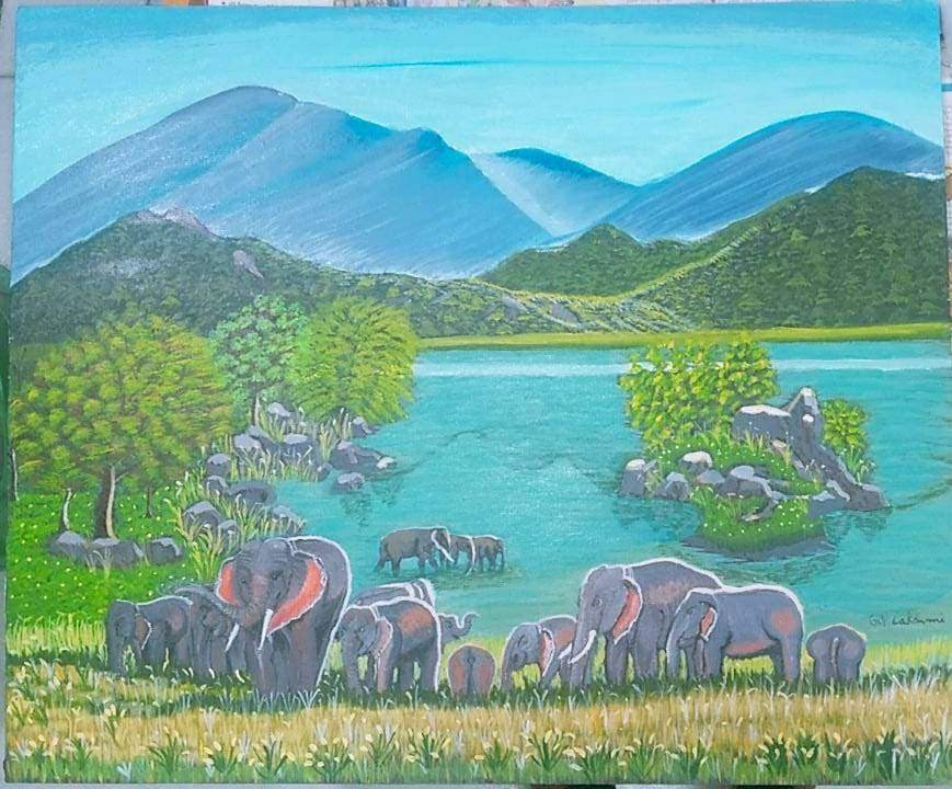 Realistic Elephants Near A African WaterFall-paintings Showflipper
