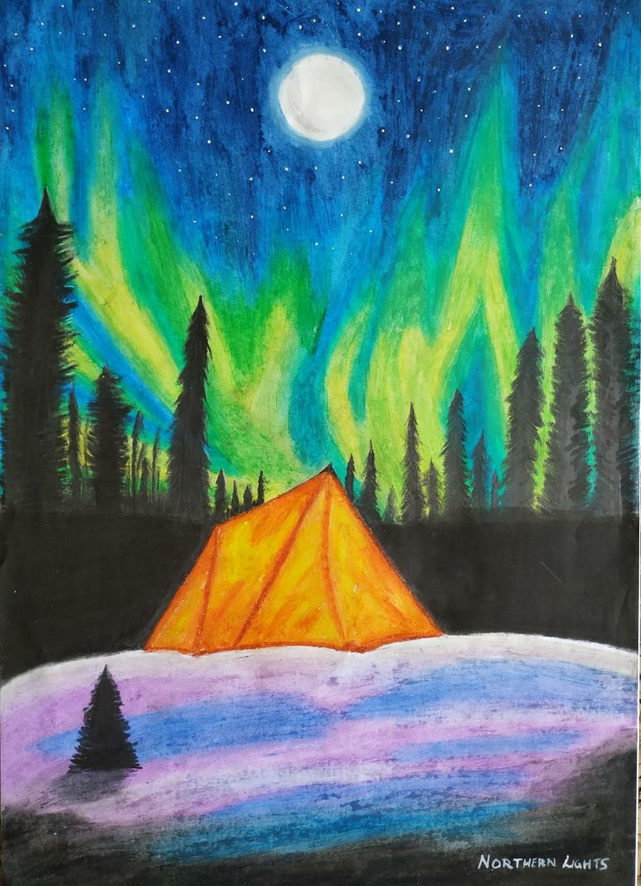Winter Night Sky With Norther Lights-drawing Showflipper