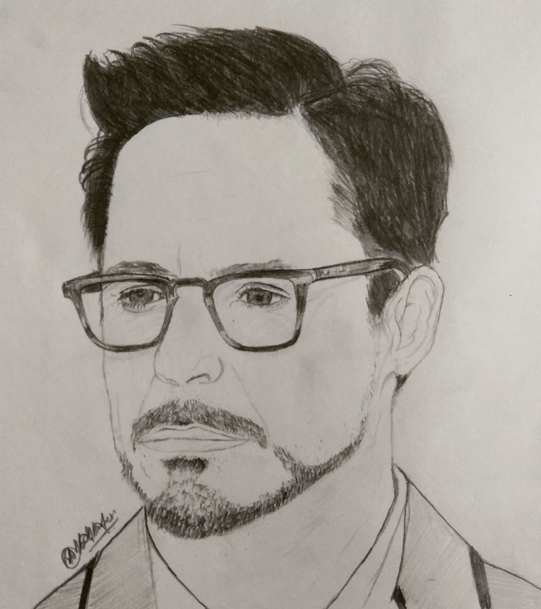 Robert Downey Jr Portrait Pencil Sketch- Showflipper