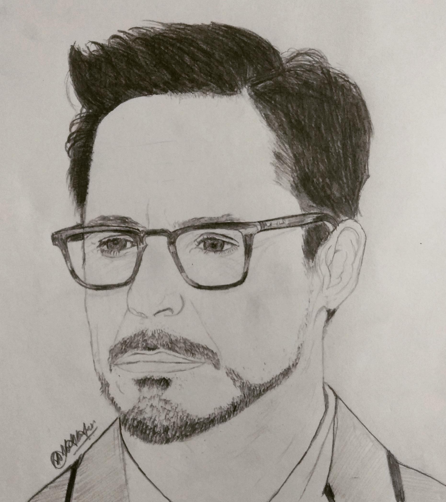 Robert Downey Jr Portrait Pencil Sketch- Showflipper