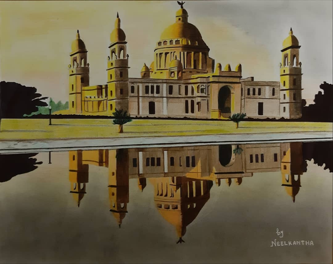 Sunset View Of Victoria Memorial-drawing Showflipper
