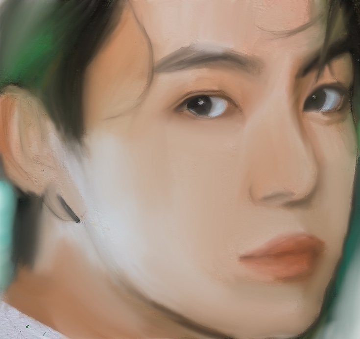 Jungkook Digital Art Full Face View-illustration Showflipper