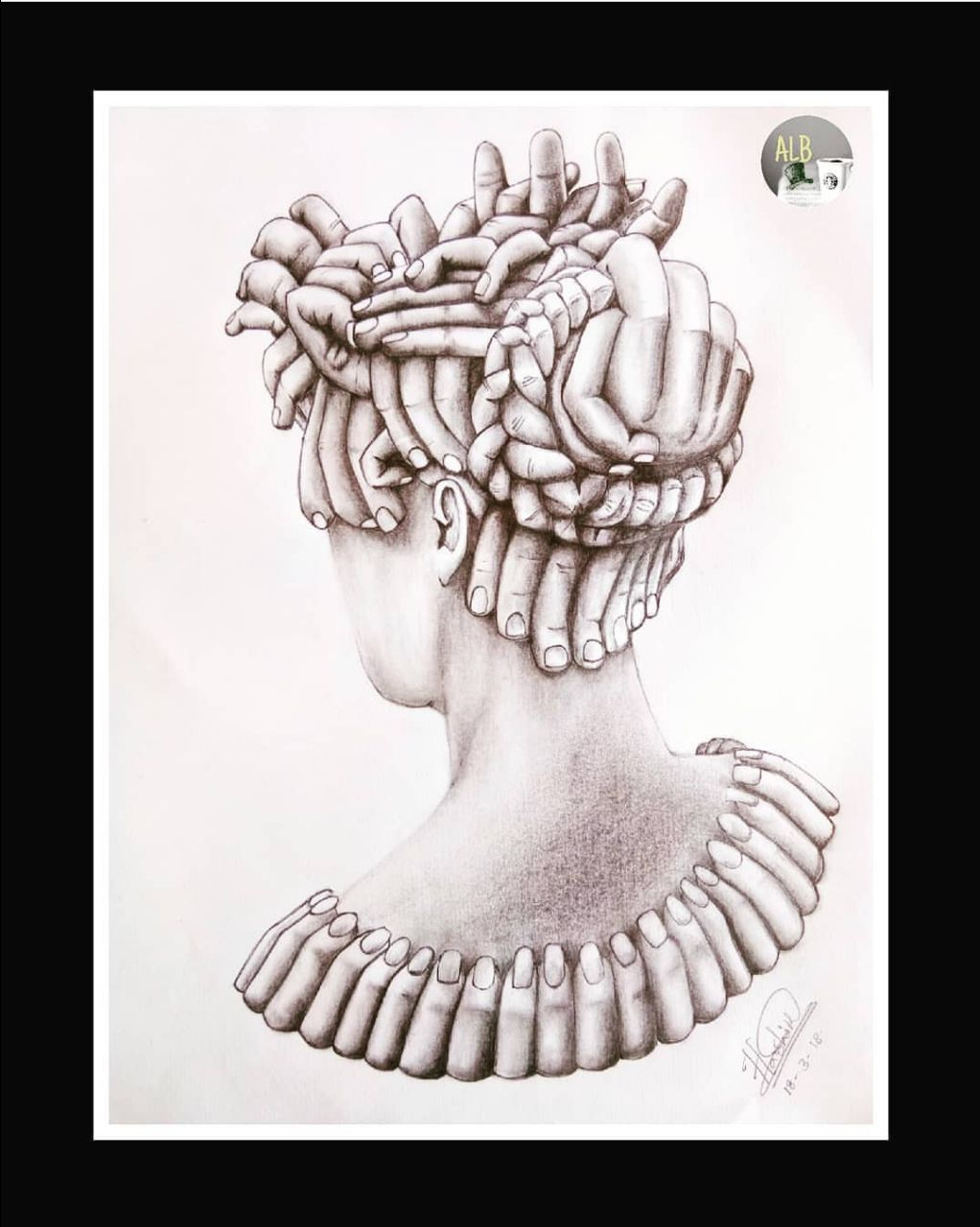 Combination Of Fingers And Head sketch Fine Art