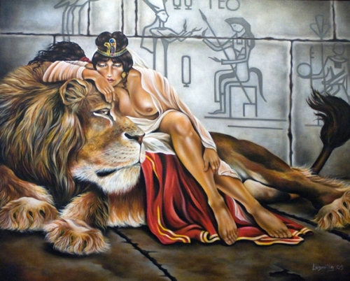 Women with Lion Painting
