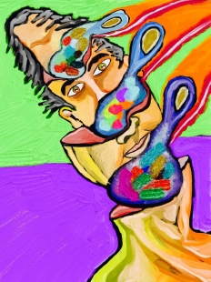 Selfportrait with palette  Digital Art