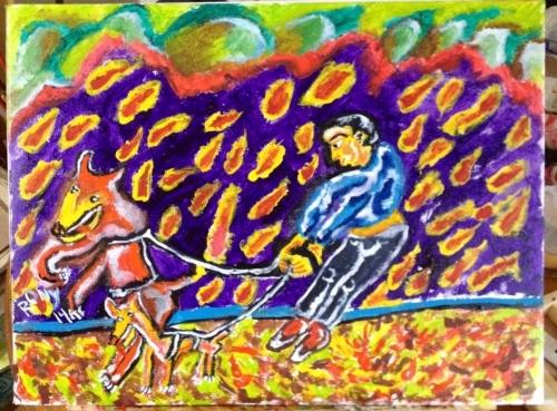 Paseador Con Dos Perros Fine Art