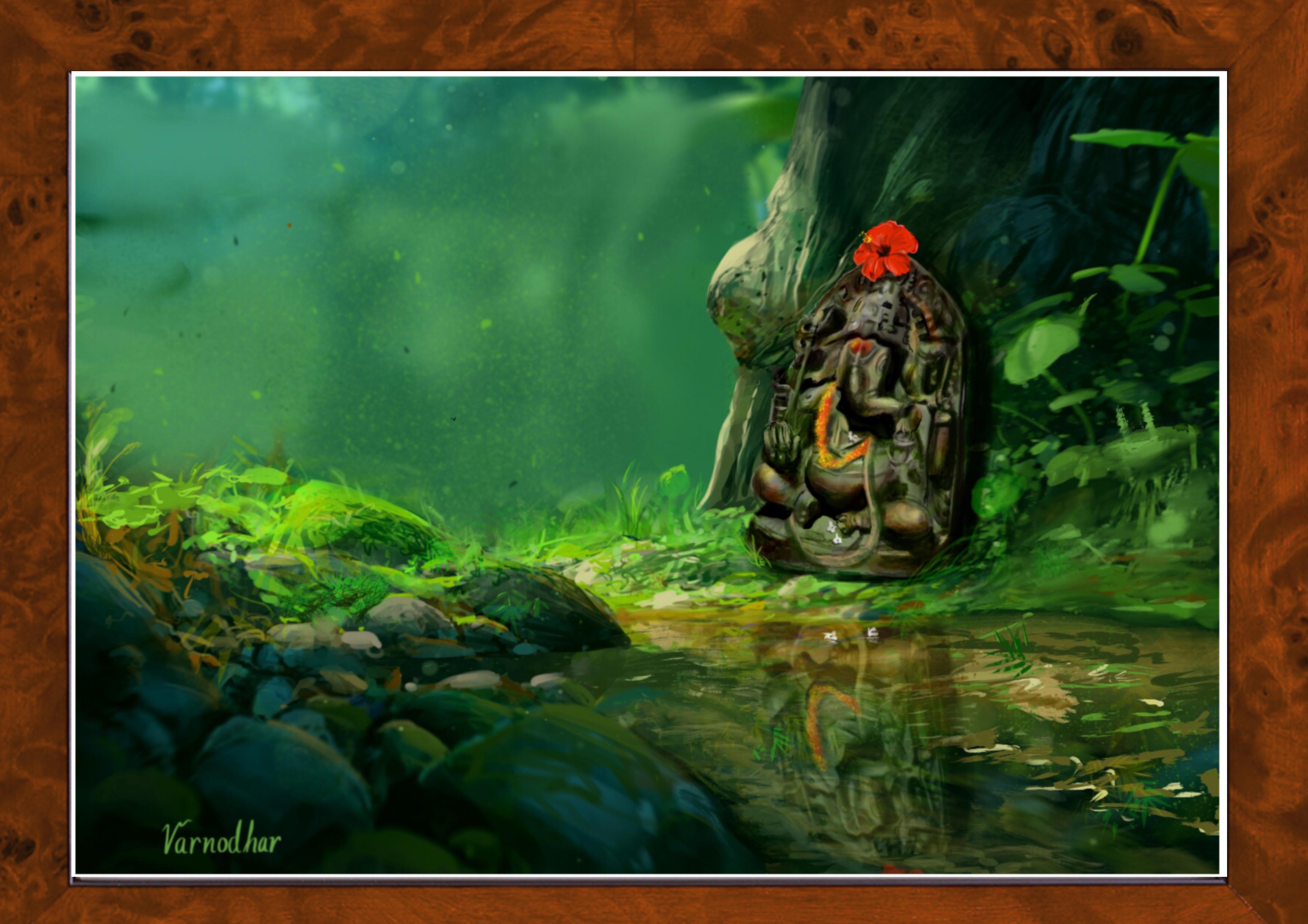 Lord Ganesha Digital Painting On Canvas Digital Art