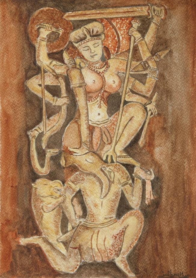 Goddess Durga Slaying Demon Fine Art