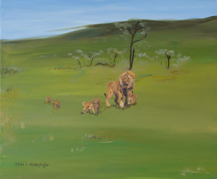 Lions family Painting