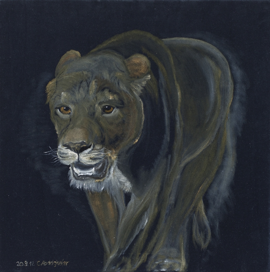 Lioness walking Fine Art