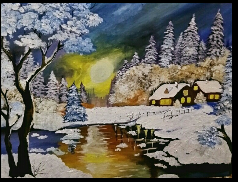 Winter Acrylic Painting by Anjum Shafi
