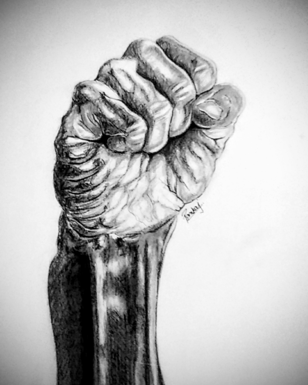 Fist Sketch Black Fine Art