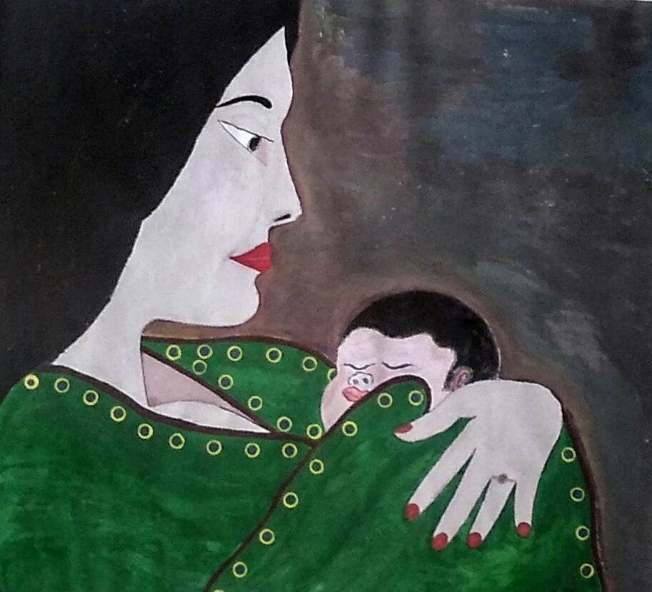 Mom And Child Painting  by Pankaj Baweja