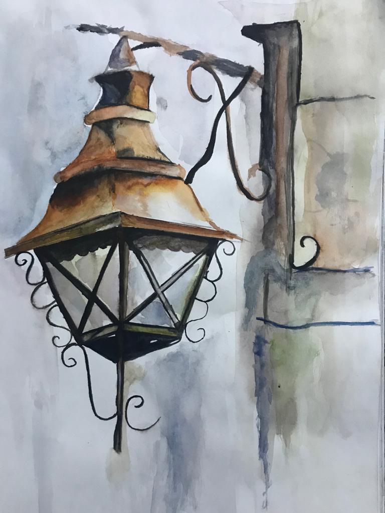 Watercolor Painting Of Street Lamp