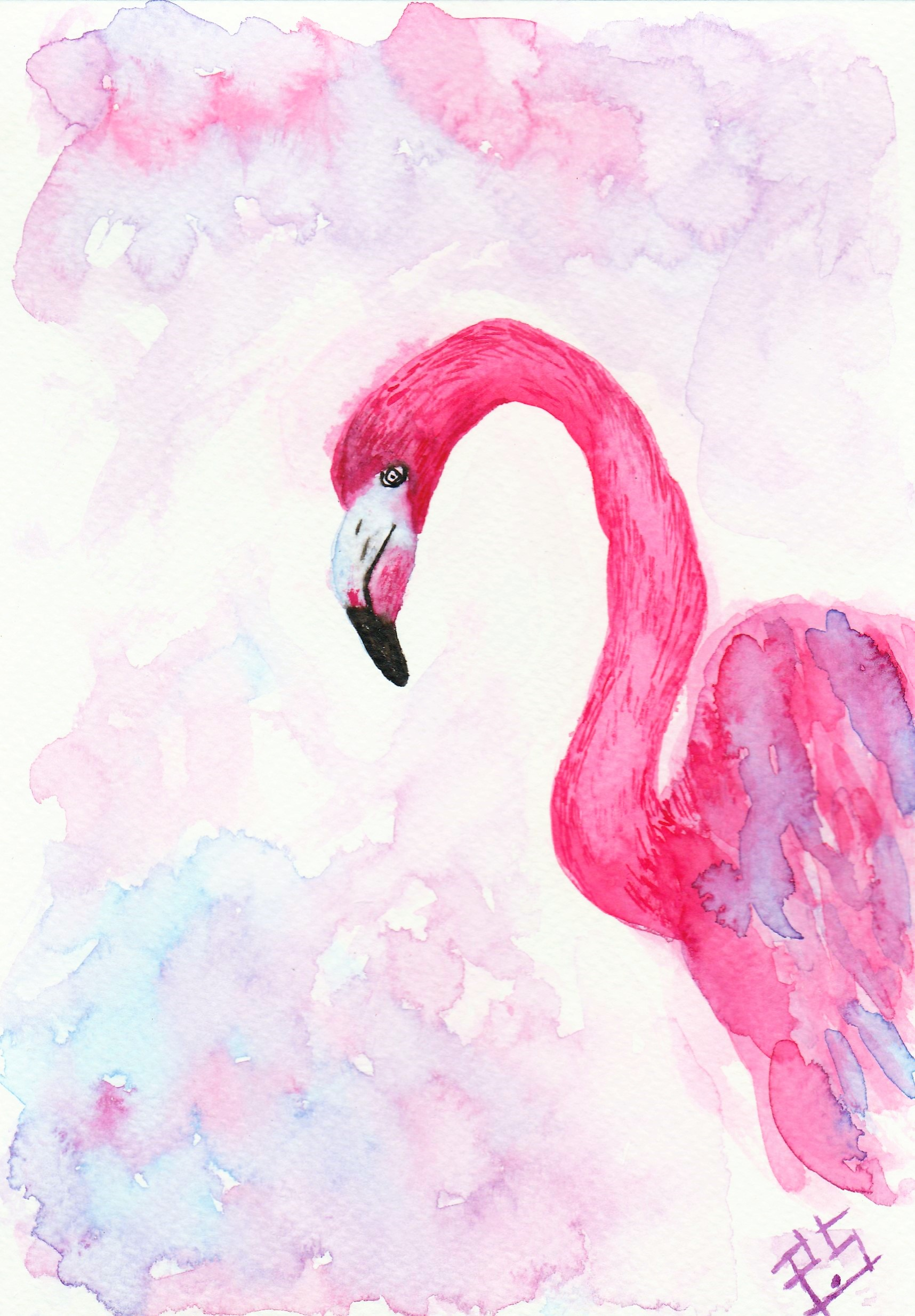 Flamingo Watercolor Painting by Payal Sharma