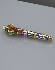 Pen with peacock badge jewelry