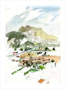 Unframed Landscape Watercolour Painting