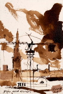 Watercolour Painting Sepia ink
