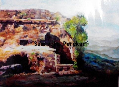 Sunlit Panhala Ruins Fine Art