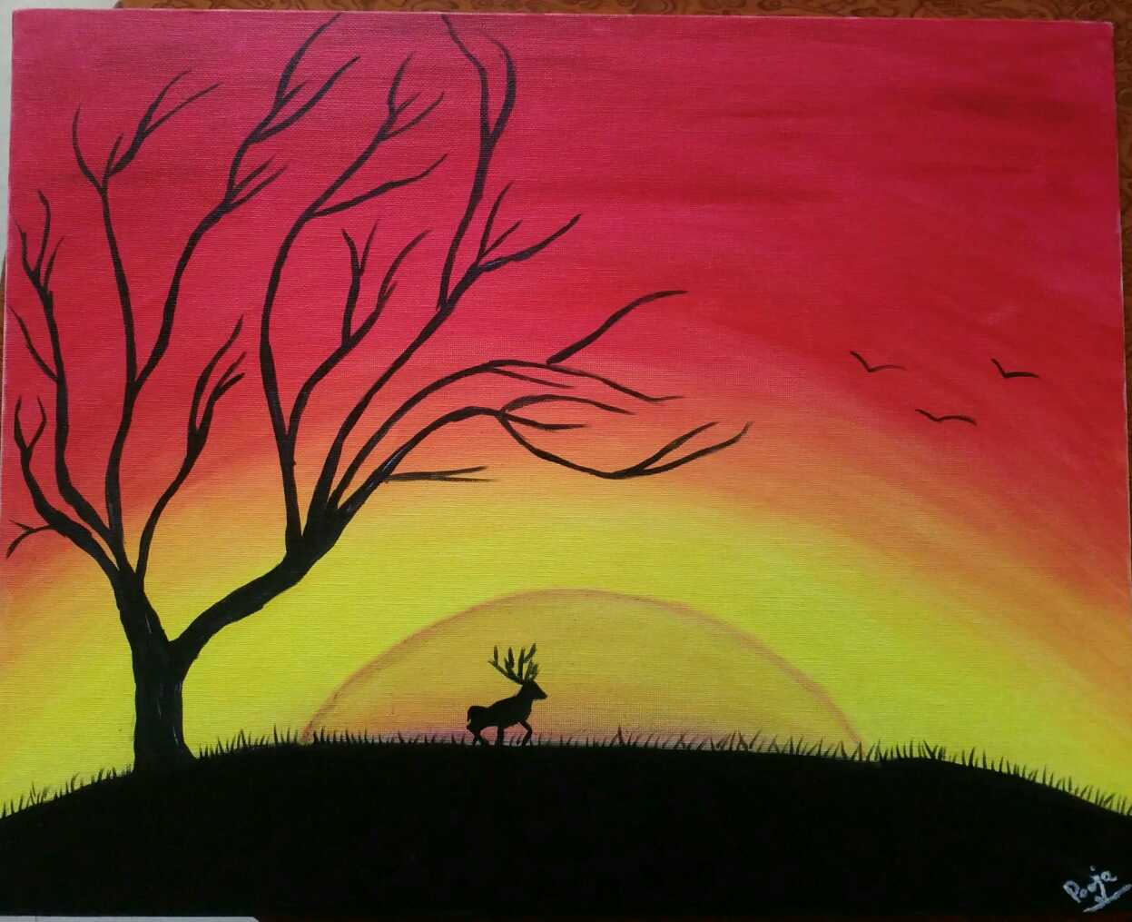 Sunset Nature Oil Painting