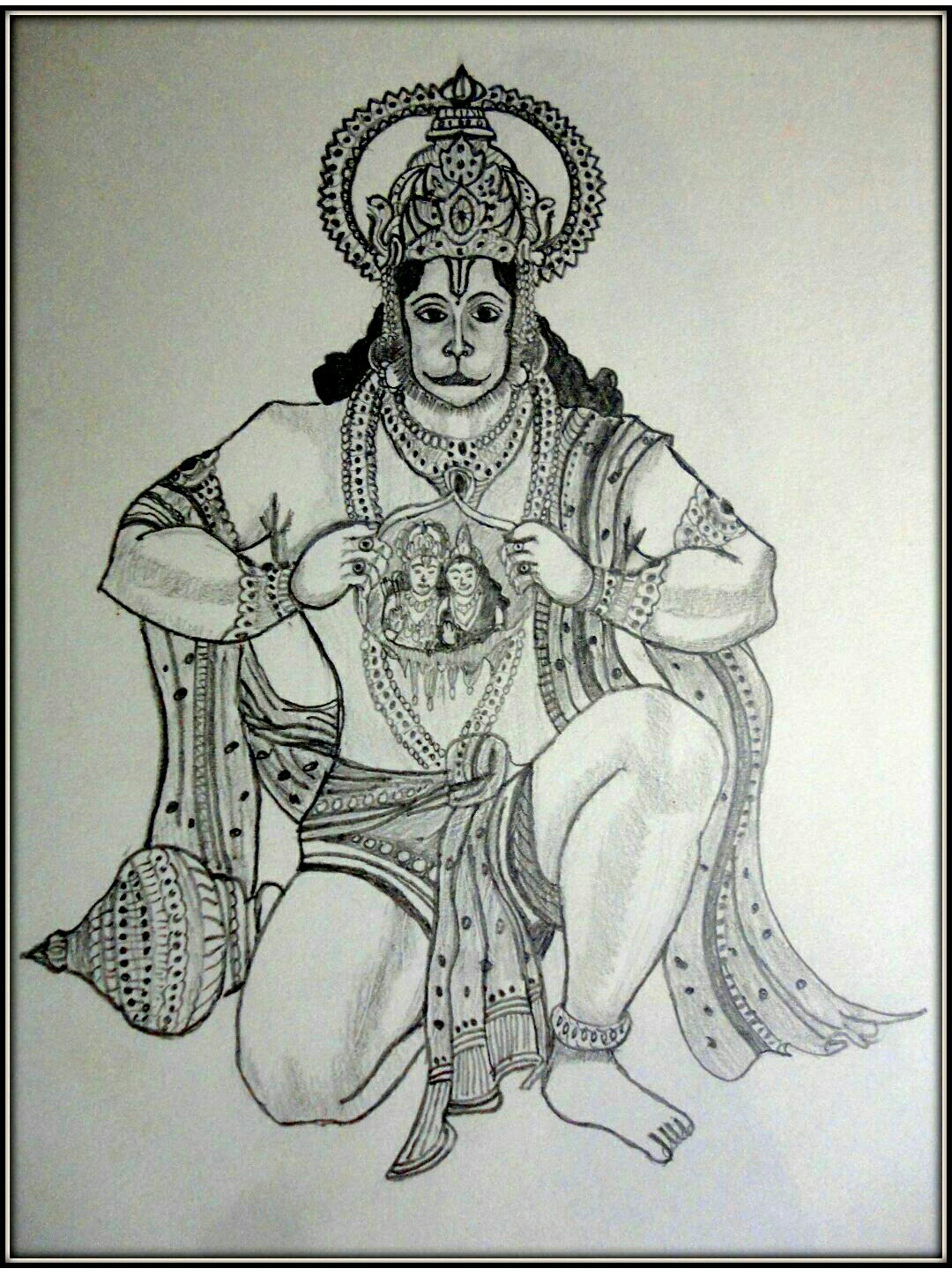 Sketch Of God Hanuman Ji