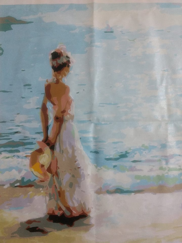 Painting Of Lady On Seashore