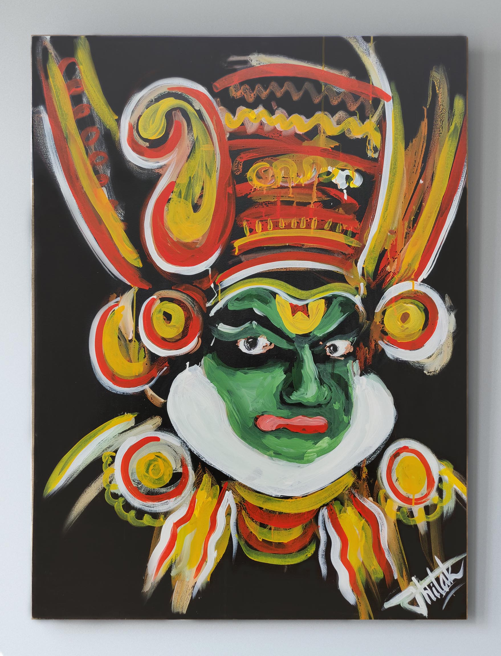 Original Large Acrylic Kathakkali Painting On Canvas Fine Art