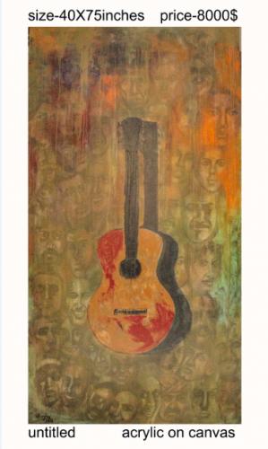 Canvas Guitar Painting Fine Art by Sanjay Sharma