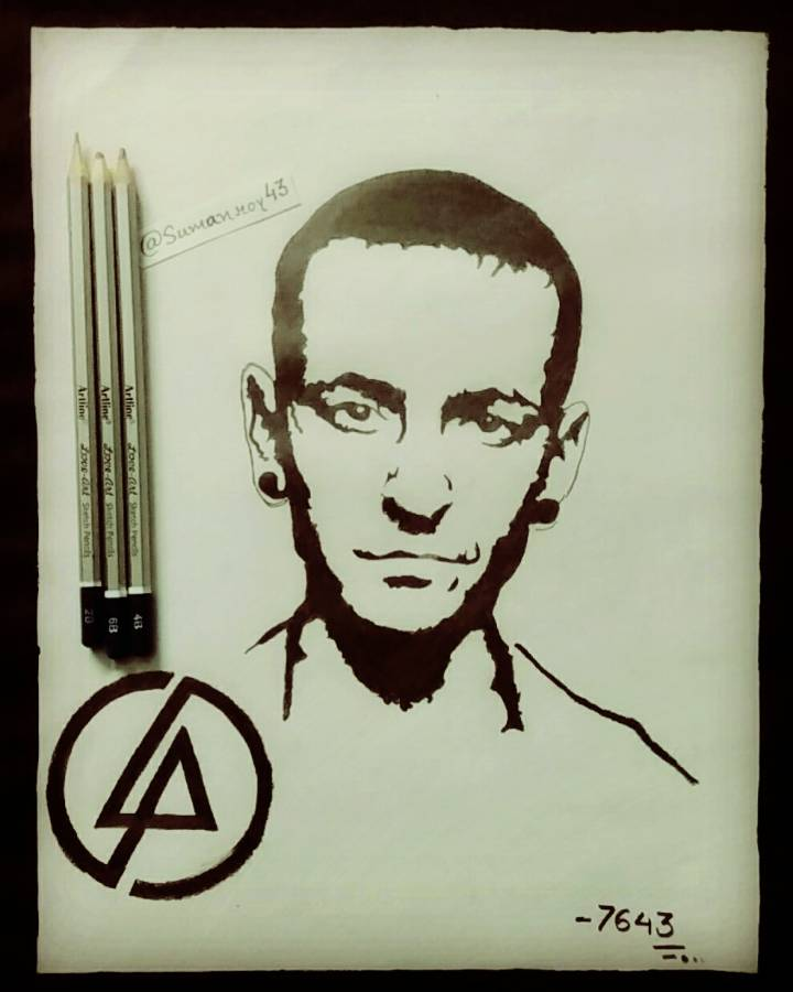 Pencil Sketch Of Late Sir Chester Bennington Fine Art