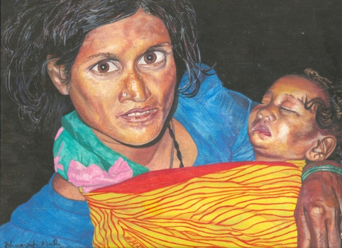 Indian Woman and Baby  Fine Art