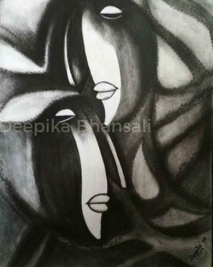 Couple In Charcoal Fine Art by Deepika Bhansali